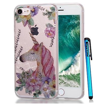 pretty nice 8d2c3 11666 iPhone 8 Case, Qiyuxow iPhone 7 Clear Case Soft Bright Glitter Sparkle Art  Print Anti-Scratch TPU Bumper Case for Apple iPhone 7 & iPhone 8 (The Queen  ...