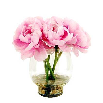Amazon Lcg Florals 15w70 Peonies In A Glass Vase With River