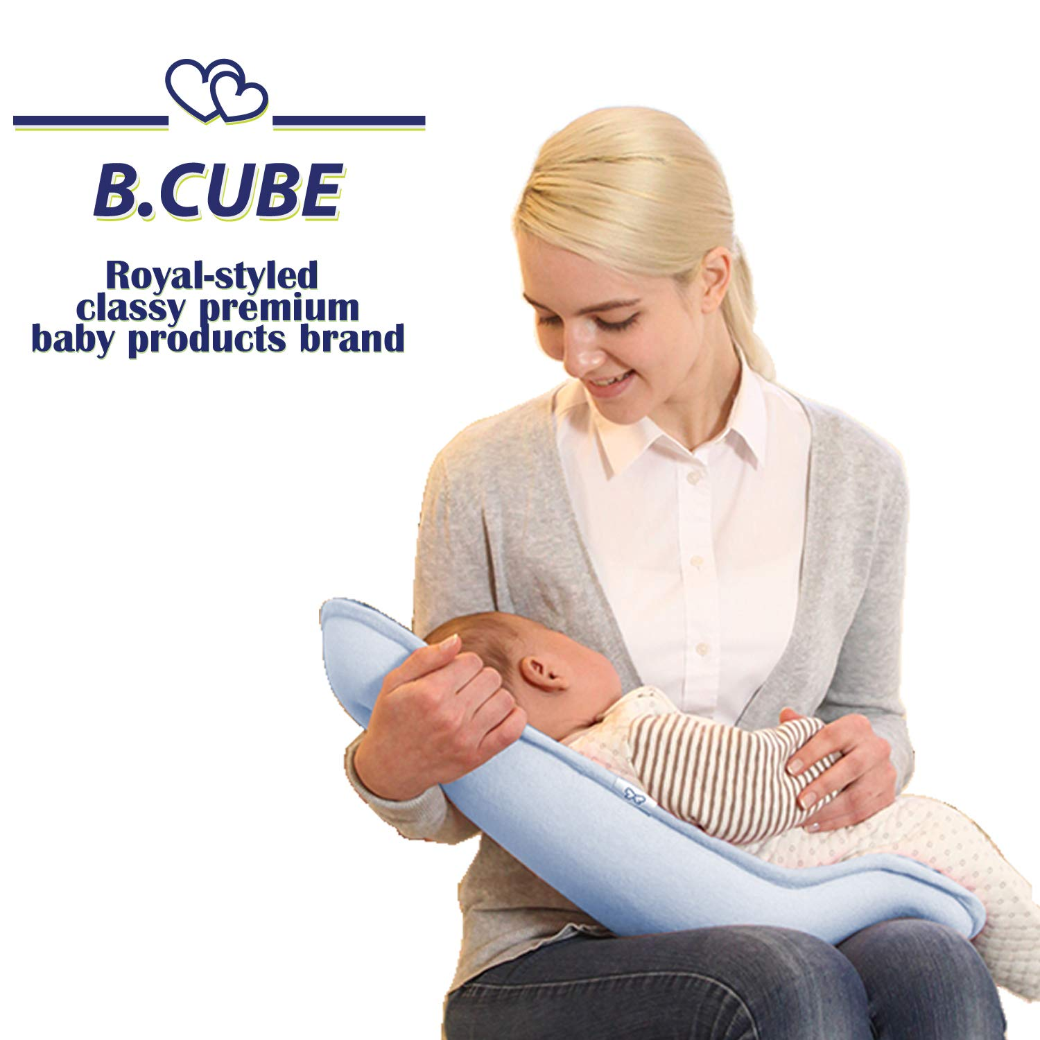 B.CUBE 3D Air Mesh Vent Feeding Seat Nursing Pillow Breast & Bottle Feeding Newborn Baby Infant Cuddle Care Seat 3D Air Vent System Ergonomic Design The Best Present for Baby Shower(Blue) by B.CUBE
