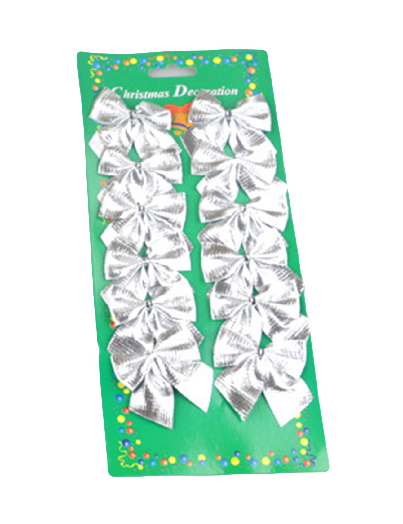 Bestgift 12-Piece Christmas Bows Decorations Silver 2 Inch