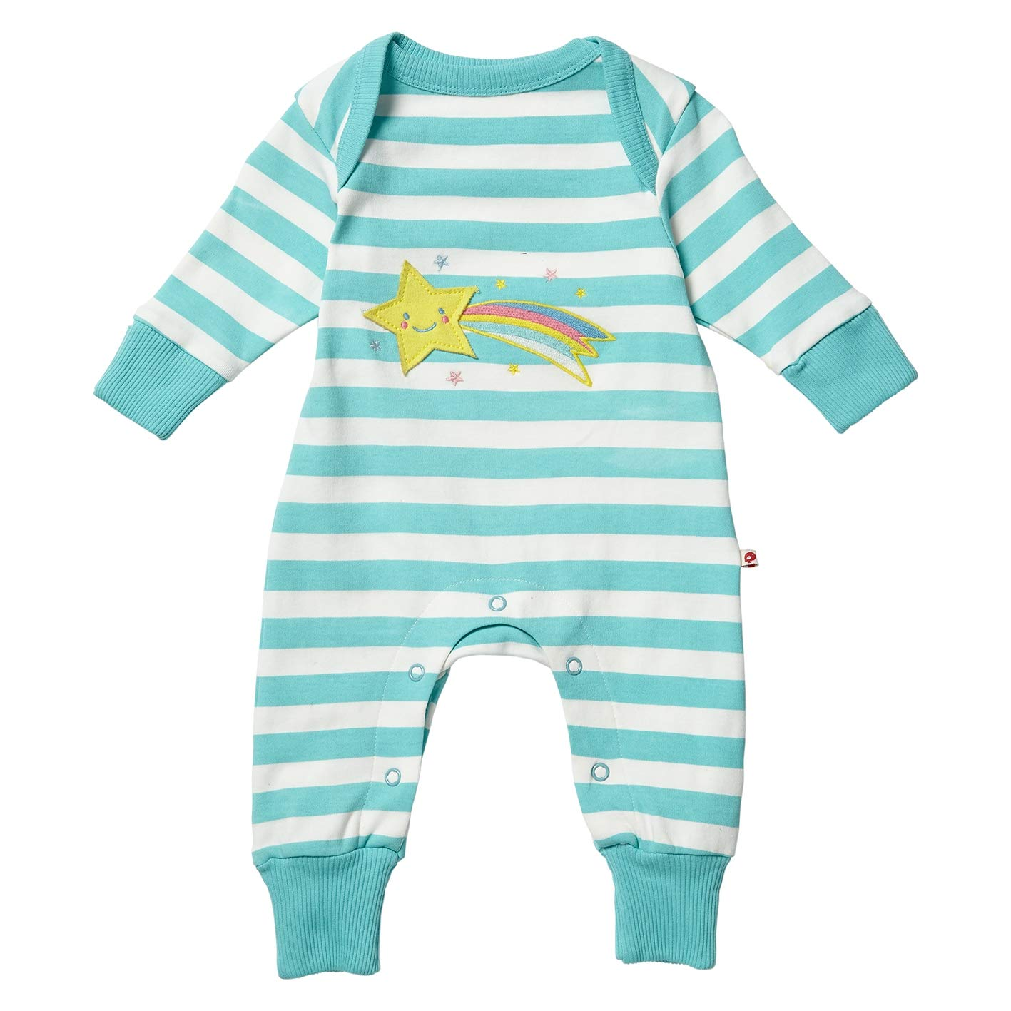 Piccalilly Organic Cotton Baby Girls Turquoise Stripe Shooting Star Applique Playsuit
