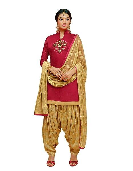 Amazon.com: Ladyline Kora Seda Handwork Salwar Kameez con ...