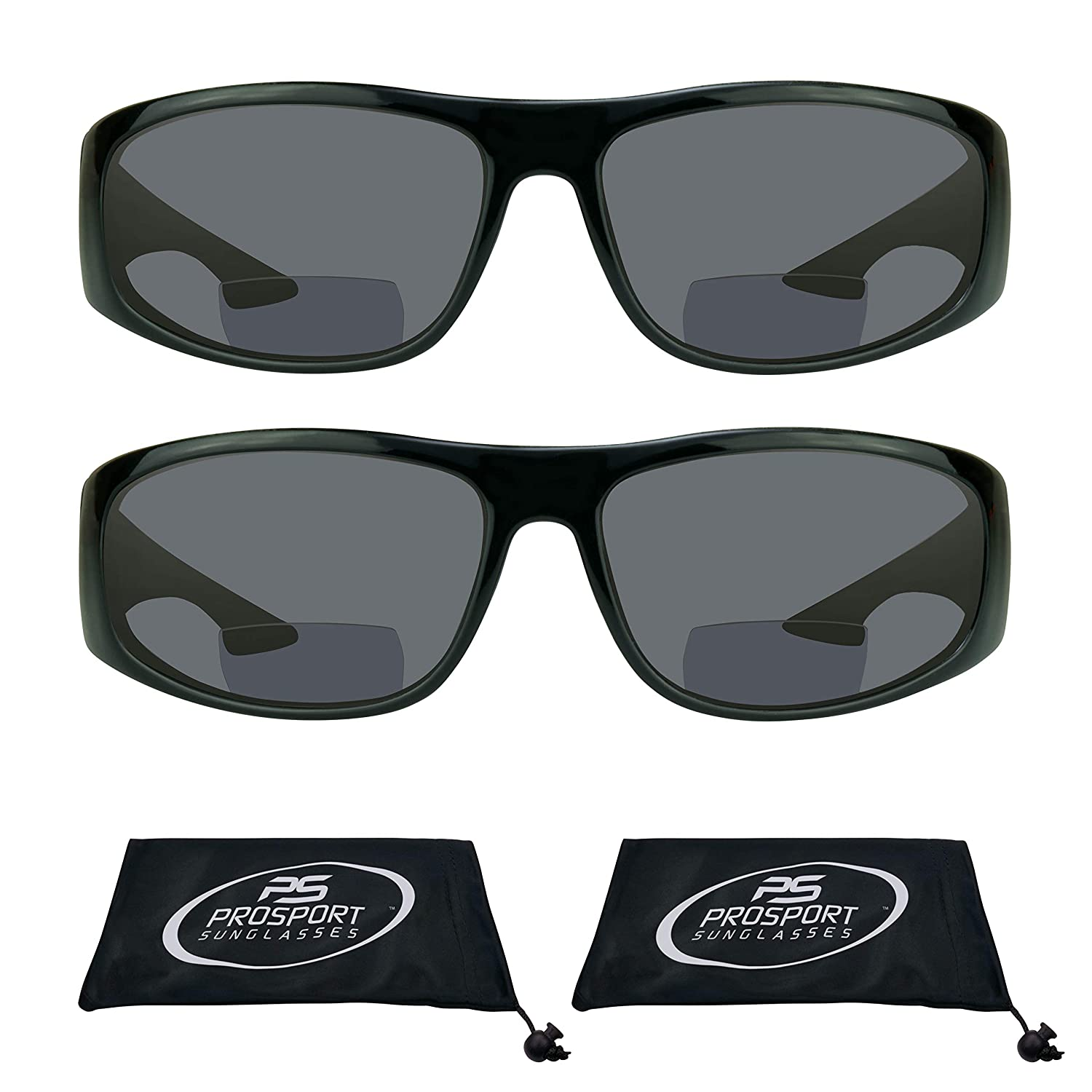 2550d07e402 Amazon.com  proSPORT Bifocal Sun Reader Sunglasses for Men and Women.  Sporty Wraparound Full Frame with Nearly Invisible Reading Line  Clothing
