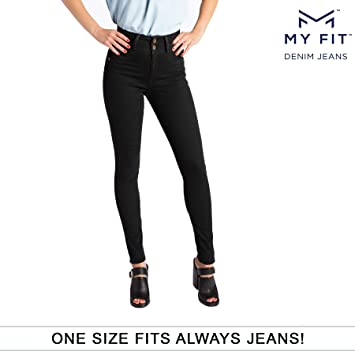 9cd4f3237f3e56 My Fit Jeans- SIZE 2-12 BLACK: Women's Stretch Denim Jeans with Pockets