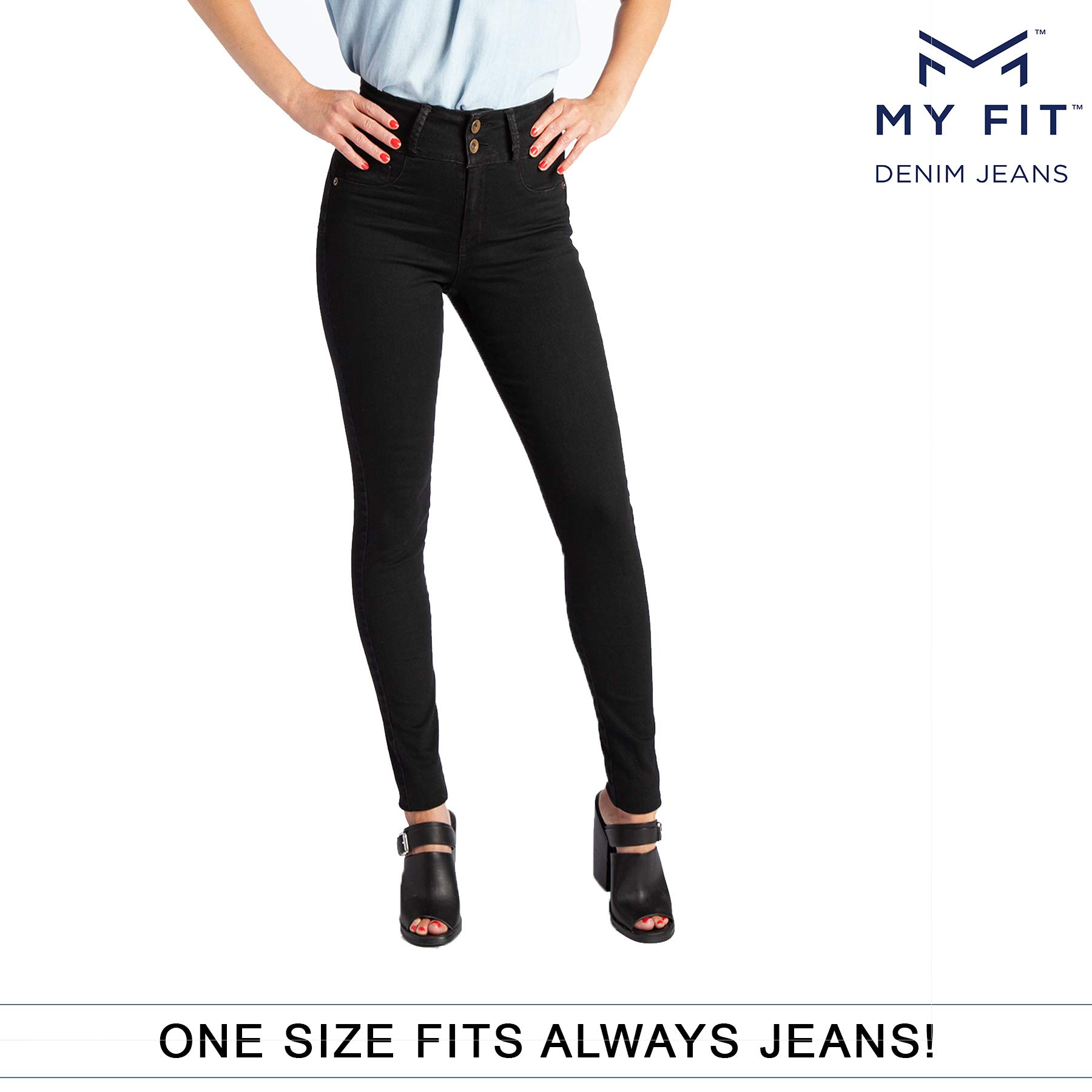 649ff5b02d0 My Fit Jeans- SIZE 2-12 BLACK  Women s Stretch Denim Jeans with Pockets