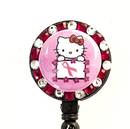9f585ea64 Amazon.com : Pink Ribbon/Breast Cancer Flower Lined Hello Kitty Rhinestone  Retractable Badge Reel/ ID Badge Holder : Identification Badges : Office  Products