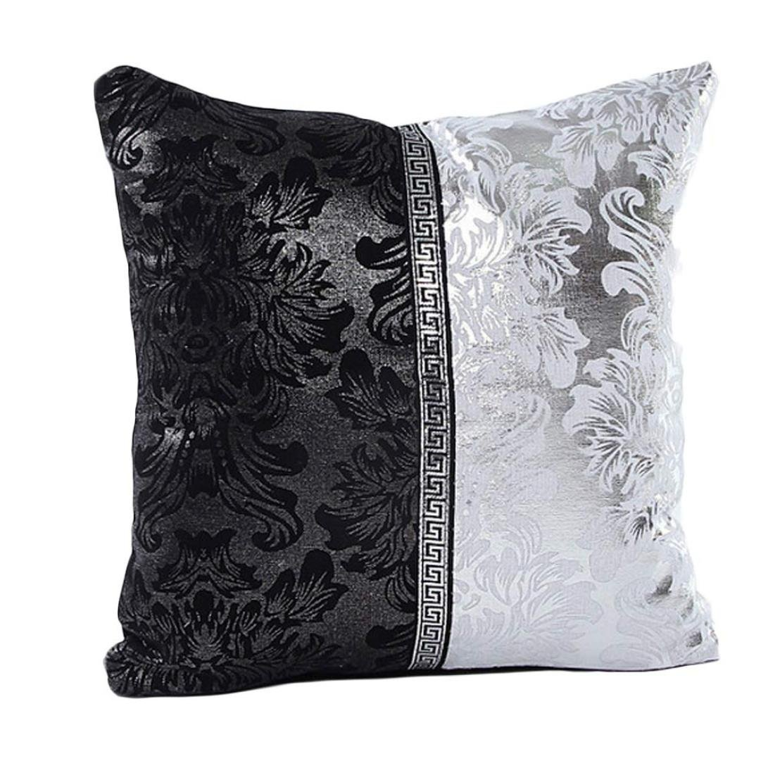Viahwyt Cushion Cover Couch Luxury Porcelain Square Cushion Covers 45cm x 45cm Black White Pillow Case For Sofa Car Restaurant Home Decor New Home Gifts (A)