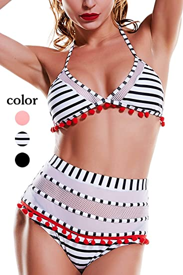 d82866af2ffef Amazon.com  Womens Tassel High Waist Bikini Set Sexy Two Piece Halter  Straps Swimsuit Padded Bathing Suit  Clothing