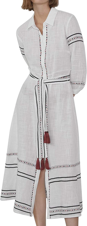 Zara 4786/254/251 Vestido de Camisa Bordado para Mujer ...