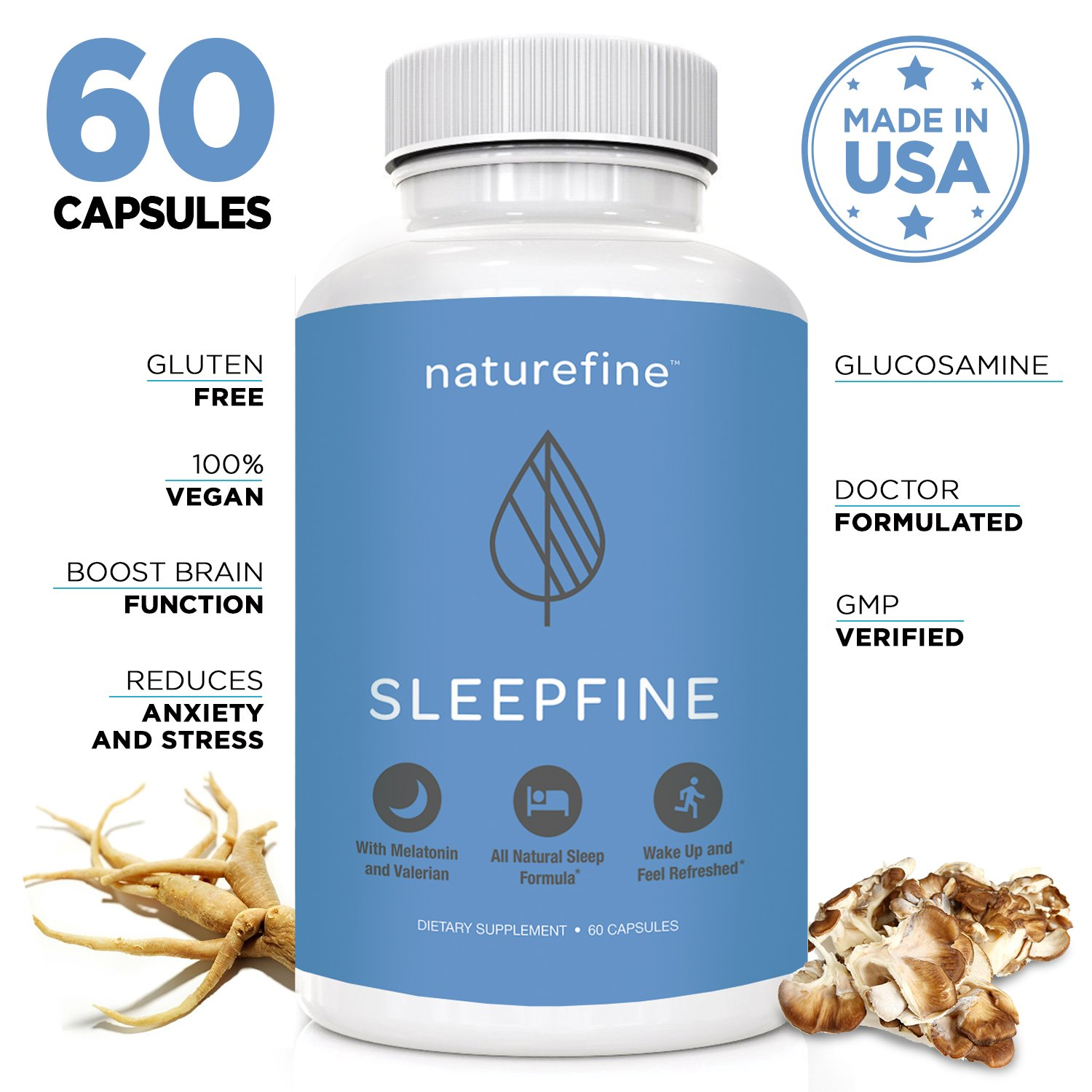 All Natural Sleep Aid Formula with Tryptophan, Melatonin, Valerian Root, Lemon Balm,