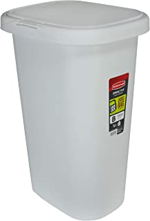 product image for Rubbermaid Spring Top Lid Trash Can for Home, Kitchen, and Bathroom Garbage, 13 Gallon, White