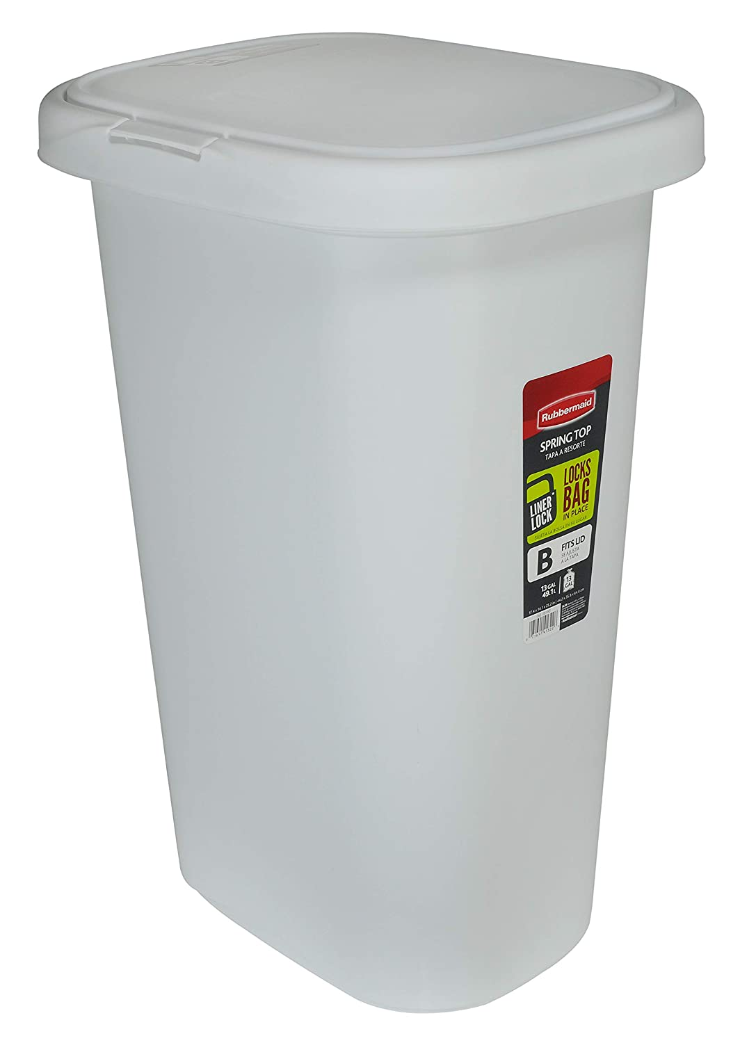 Rubbermaid Spring-Top Lid Trash Can for Home, Kitchen, and Bathroom Garbage, 13 Gallon, White