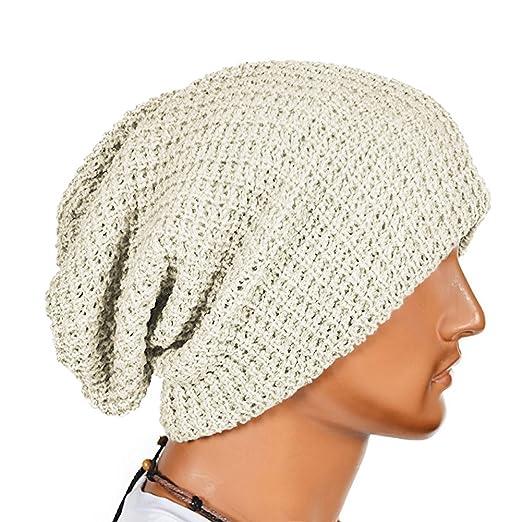 884152992a0 Opromo Unisex Slouchy Winter Hat Long Oversized Beanie Knit Cap Warm Ski Hat -Beige