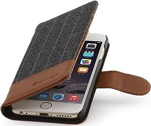 StilGut Talis collection fashion, housse portefeuille pour iPhone 6 Plus & iPhone 6s Plus (5.5 pouces), motif à rayures fines/cognac