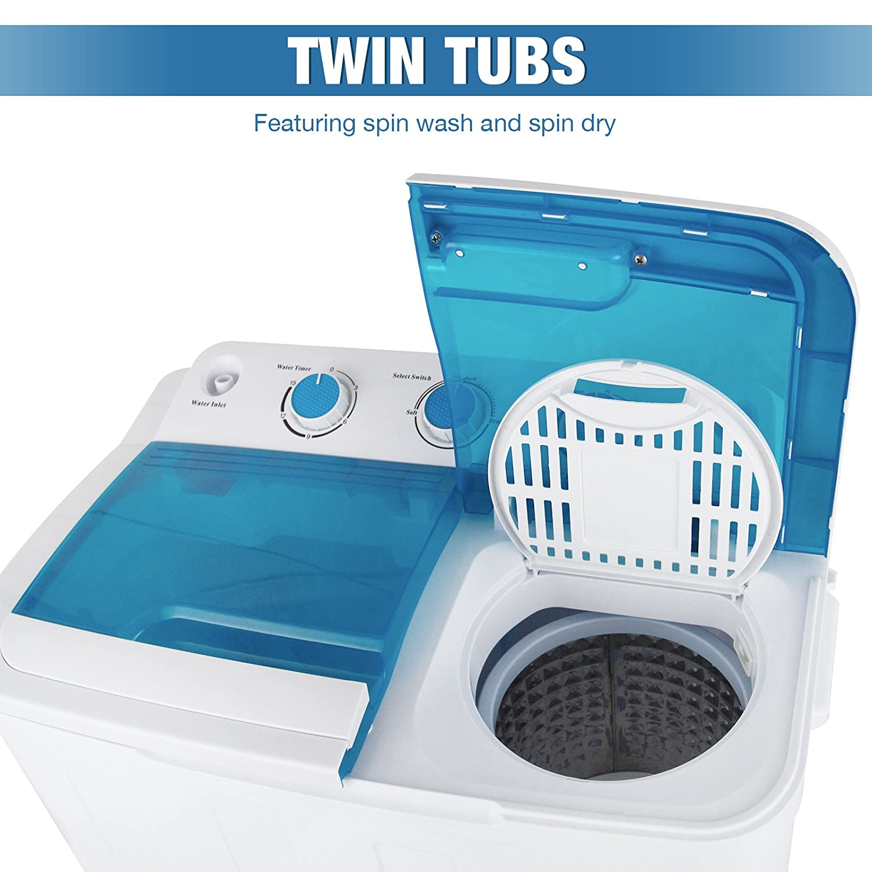 Amazon.com: KUPPET 17Ibs Portable Mini Compact Twin Tub Washing ...