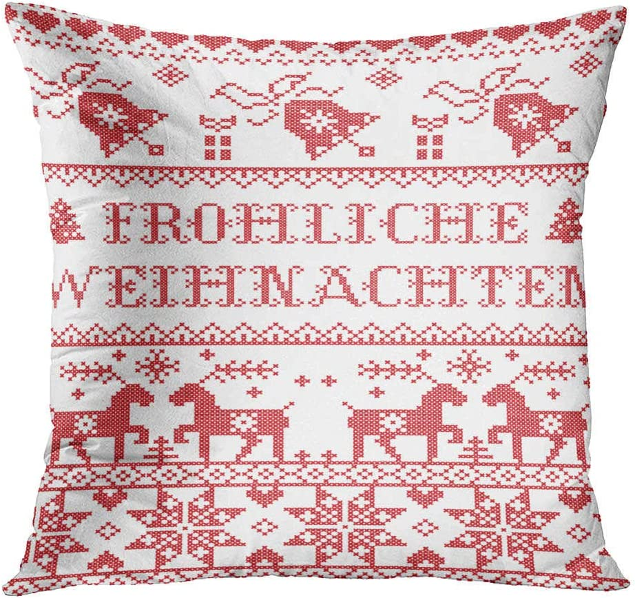 Subently Throw Pillow Cover Decorative 18x18 Inch Pillow Case Christmas Frohliche Weihnachten Winter Wonderland Home Car Sofa Office Meeting Room Decor Cushion Pillowcase