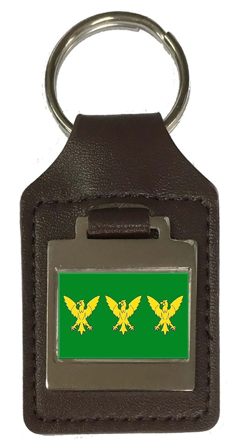 Leather Keyring Engraved Caernarfonshire County England Flag
