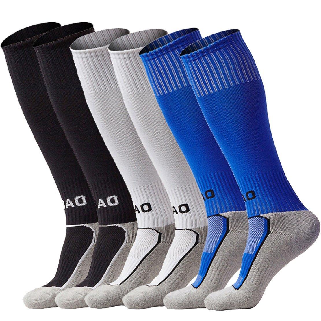 子供/ジュニア 運動 スポーツ トレーニング 膝上 サッカーストッキング B075KLQS3N 3ペア (ブラック&ホワイト&ブルー) 3ペア (ブラック&ホワイト&ブルー)