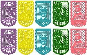 2 Pack Frida Kahlo - Papel Picado Mexicano de Plástico - 20 Paneles en Total - Articulo de decoración de Fiesta Mexicana - Multicolor - Morado, Rosa, Azul, Amarillo, Verde