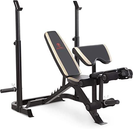 side facing marcy md-879 adjustable olympic weight bench