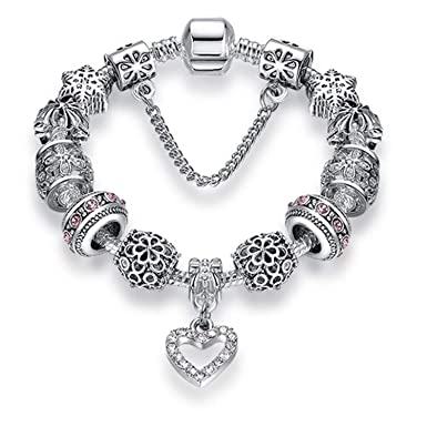2dc32e65f JEWH Heart Charms Beads fit Original Silver Bracelet Crystal Beads Bracelets  & Bangles for Women Fashion Jewelry (PS3743)