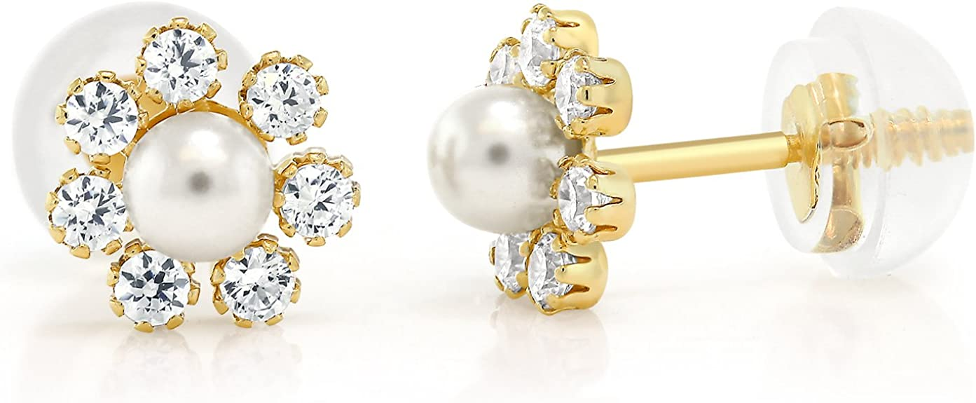 Cream White Cultured Freshwater Pearl Stud Earrings in 14k White or Yellow Gold