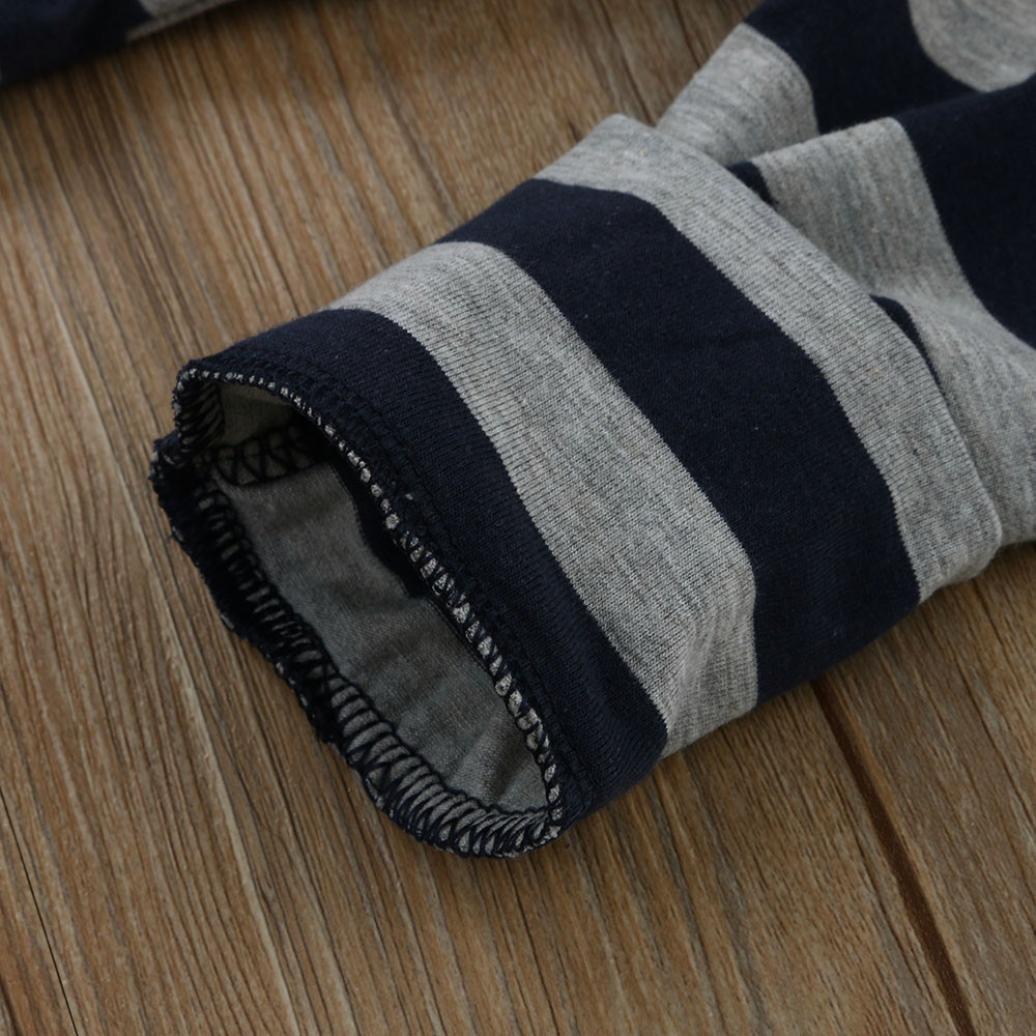 Jchen TM Cute Newborn Infant Baby Boys Letter Print Long Sleeve Romper Tops+Striped Pants Cap Outfits Set for 0-18 Months