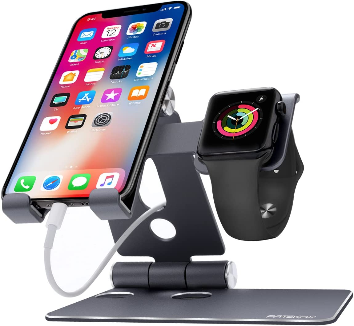 Phone Stand Compatible with Phone and Watch,Patekfly 2 in 1 Universal Desktop Cell Phone Stand and Watch Stand, Foldable Aluminum Stand Holder for Phone,Watch