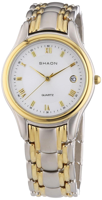Shaon - Reloj Analógico de Cuarzo para Hombre, Correa de Aleación Color Multicolor