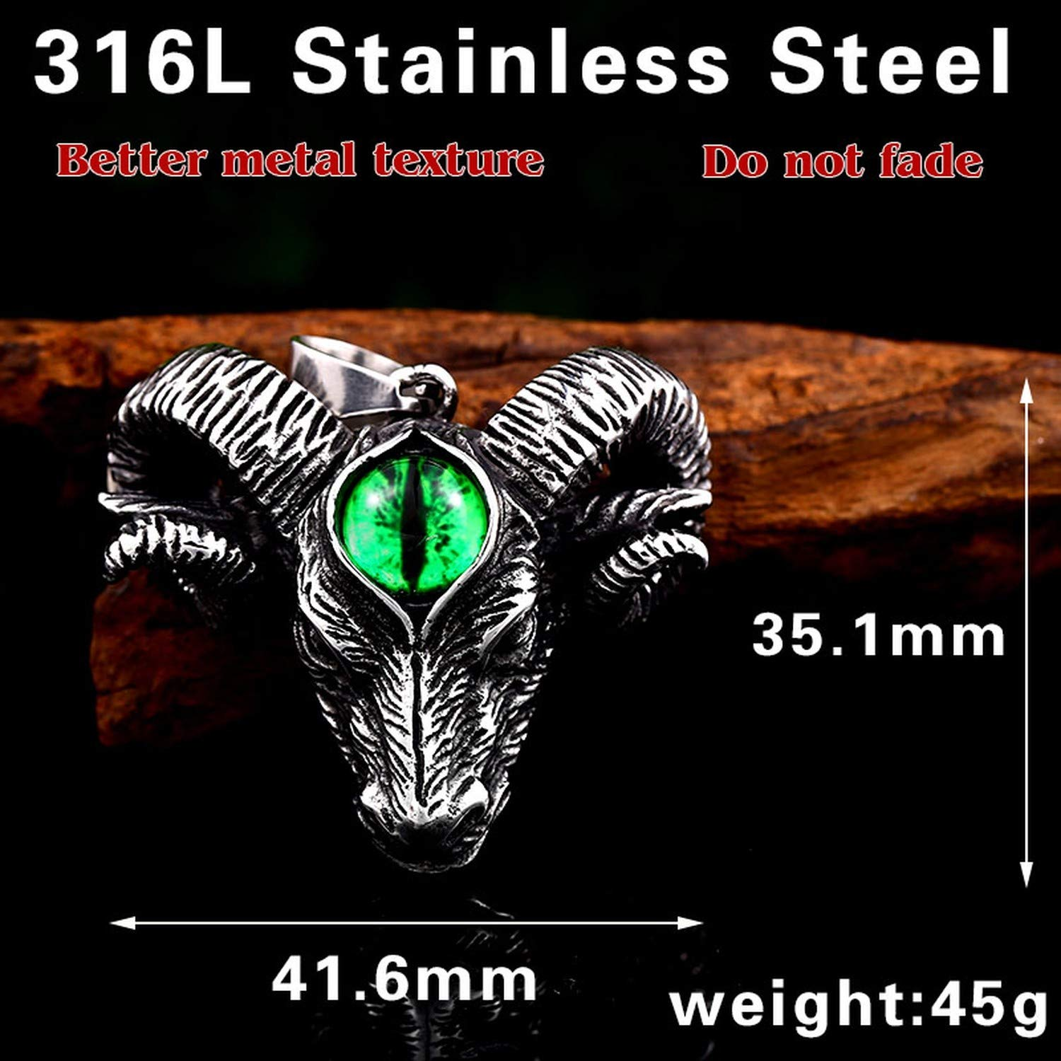 Elegant-Store-A 316L Stainless Steel Norse Vikings Pendant Necklace Norse Sheep Head with Evil Eye Animal Jewelry Man Chain