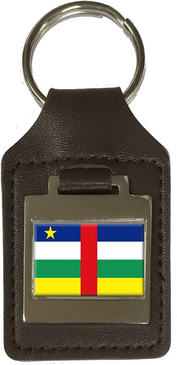 Leather Keyring Engraved Central African Republic Flag