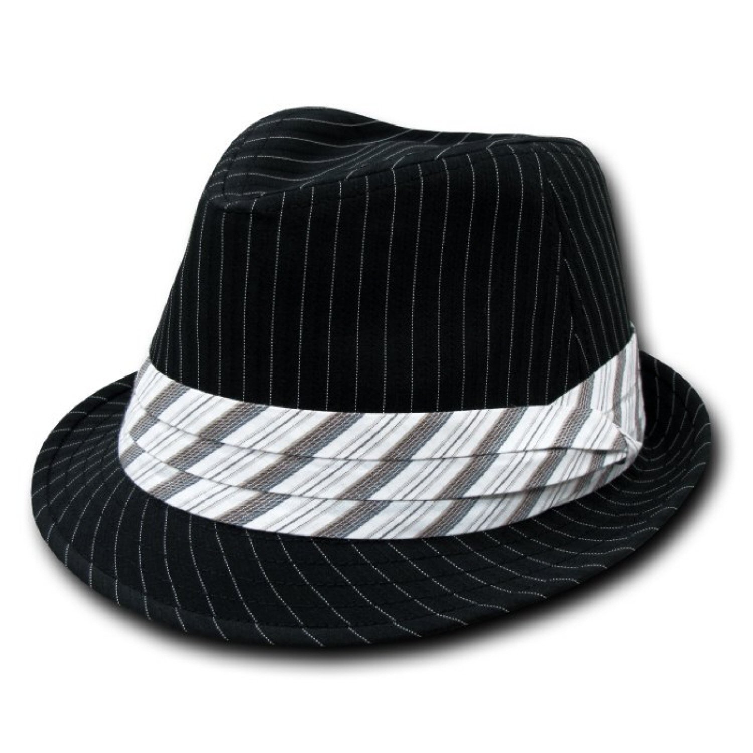 Decky Pinstripe Fedora Hat Black/White (Large/XL)