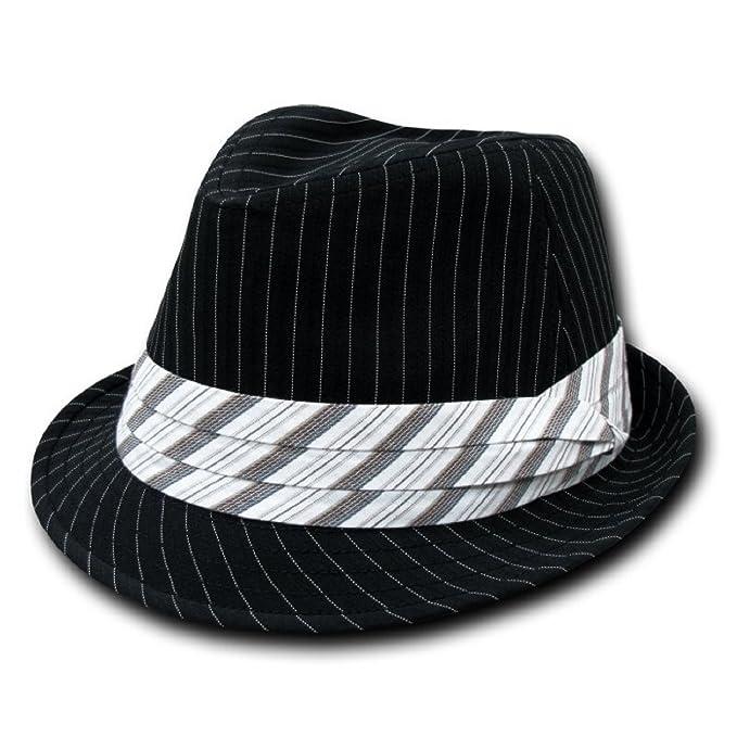 0645d1f23 Decky Pinstripe Fedora Hat Black/White (Small/Medium)