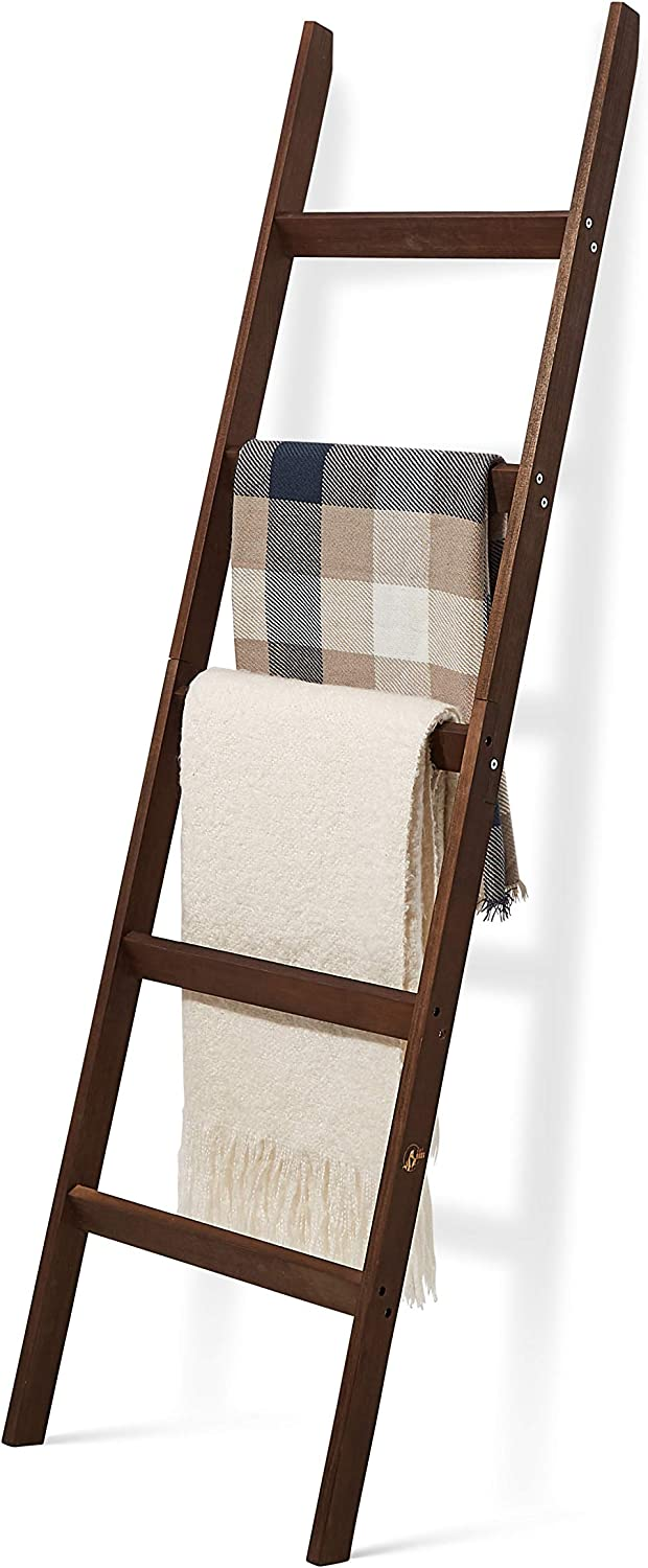 Short Birds Rustic 5ft Blanket Ladder - Farmhouse Home Decor - Quilt/Towels/Throw Wood - Decorative Shelf - Easy Assembly - Leaning - Padded - Dark Brown