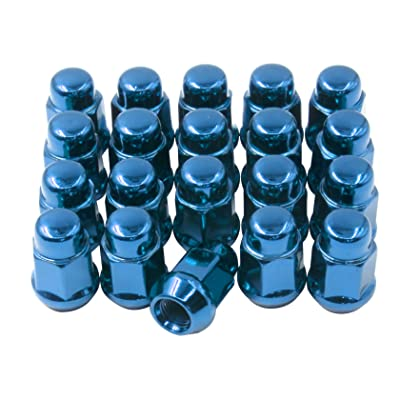 "Set of 20 Lug Nut 1/2-20 Thread Closed End Bulge Acorn Lug Nuts 1.38"" Long - Cone Seat - 19mm (3/4"") Hex Wheel Lug Nut (Blue): Automotive"