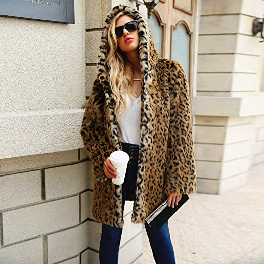 Amazon.com : Hongxin Ladies Leopard Printed Jacket, Stylish Womens Winter Warm Hooded Coat Outerwear (M, Black) : Garden & Outdoor