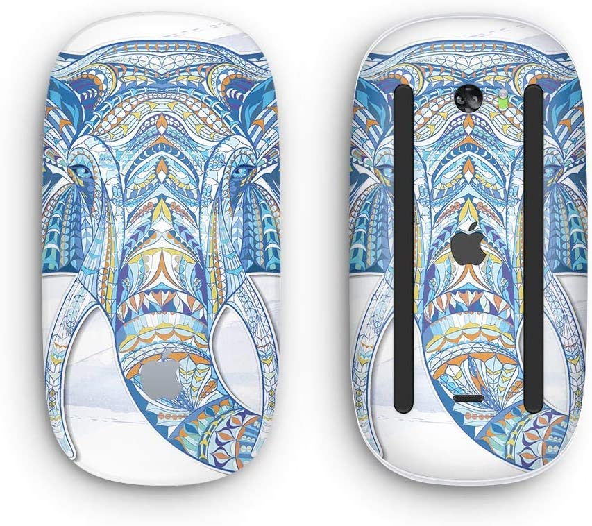 Wireless, Rechargable Design Skinz Premium Vinyl Decal for The Apple Magic Mouse 2 Geometric Sacred Elephant with Multi-Touch Surface