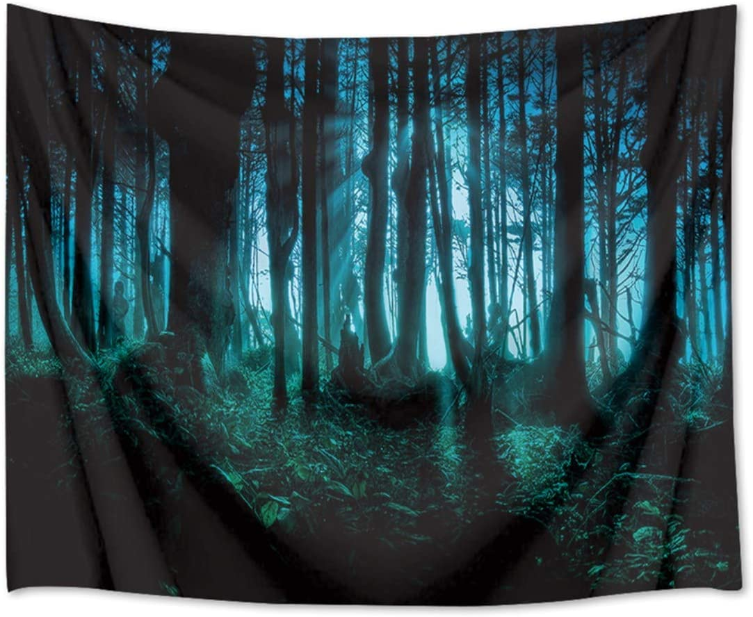 HVEST Haunted Woods Tapestry Ghost Hid Behind The Trees Wall Hanging Scary Forest Tapestries for Bedroom Living Room Dorm Party Decor,80Wx60H inches