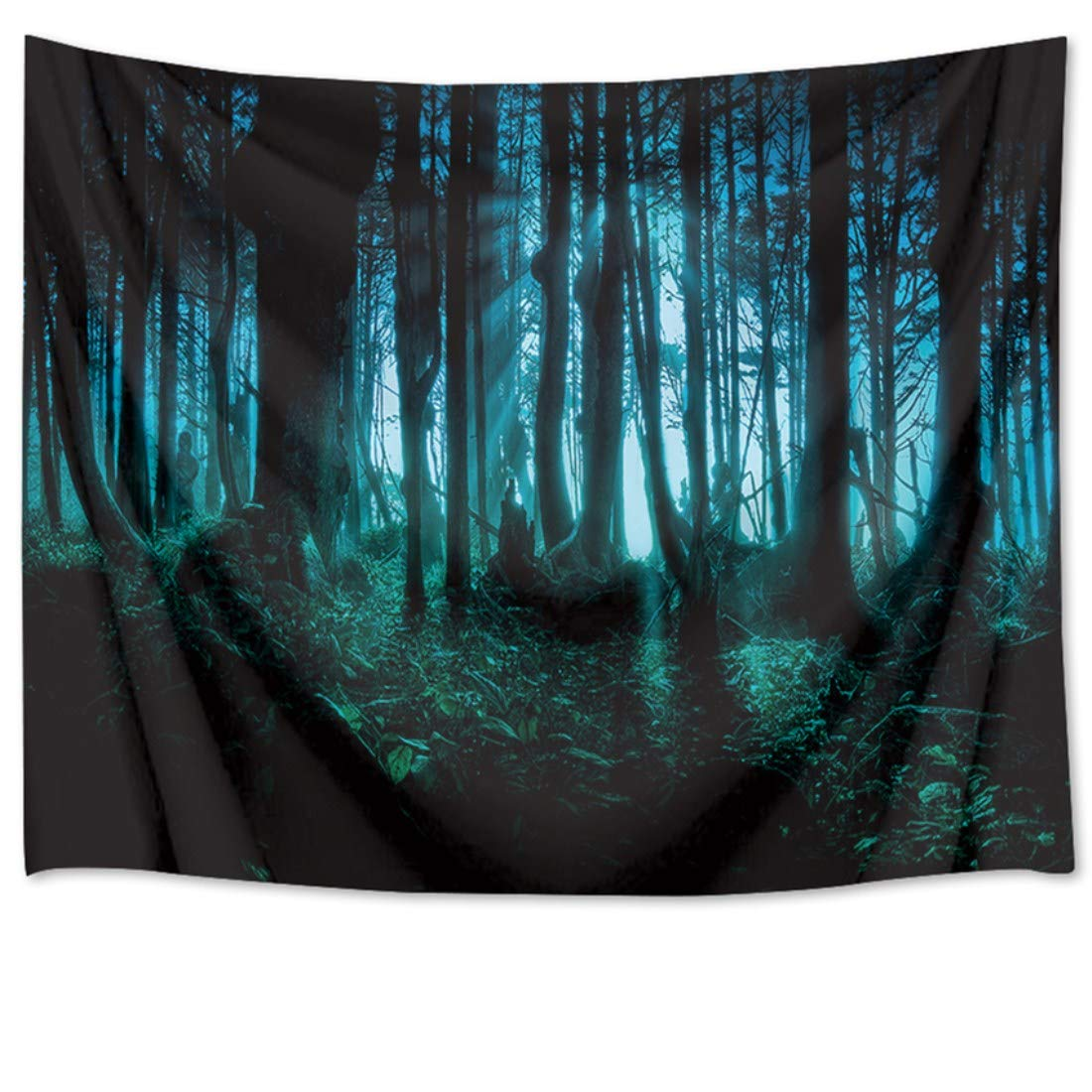HVEST Halloween Tapestry Night Tapestry Wall Hangings Haunted Woods with Trees and Plants Wall Blanket for Bedroom,Living Room,Dorm Decor,80 W X 60 H INCH