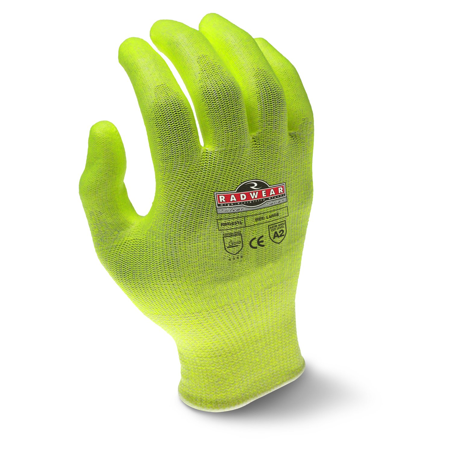 Radians RWG531L Radwear Silver Series Hi-Visibility Cut Level A2 Grip Glove (Dozen) by Radians (Image #2)