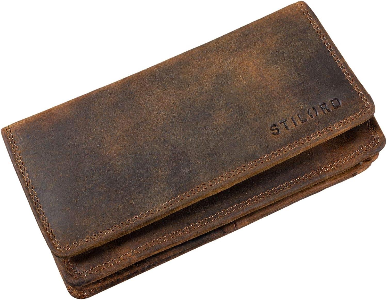 Couleur:Marron fonc/é STILORD Lotta Vintage Porte-Monnaie pour Femmes RFID Cuir Portefeuille avec 10 Pochettes pour Cartes RFID Protection Blocage