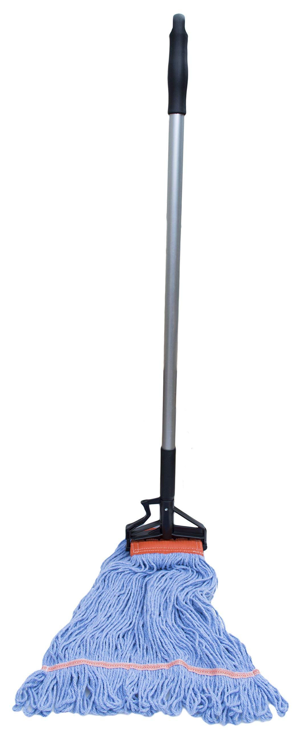 Nine Forty Commercial USA Looped End Wet Mop Head with Aluminum Extension Handle and Flip Grip Clamp by Nine Forty