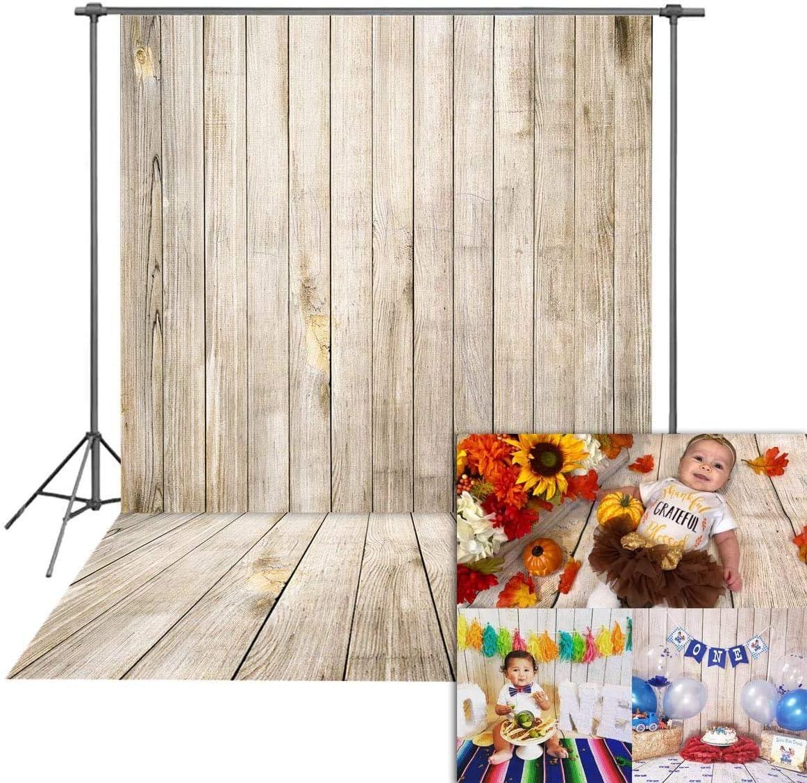 KateHome PHOTOSTUDIOS 1,5x2,2m Fond Retro Photographie Fond Vintage Marron Mur Microfibre Plancher en Bois pour Toiles de Fond de Studio Photo