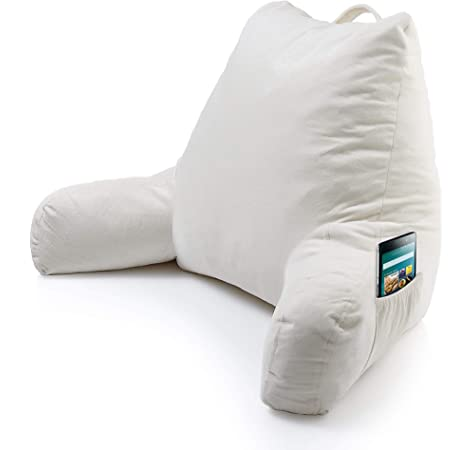 Bed Rest Pillow Reading TV Cushion Back Arm Head Support With Foam Shreds NEW