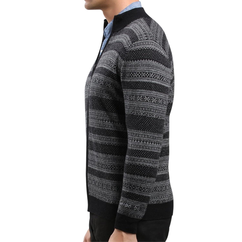 SpringAir Mens Knitted Cardigan Pure Cashmre Nordic Style High Neck Zipper Jumper