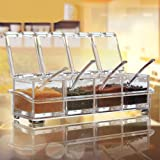 Rian's Online Crystal Seasoning Acrylic Box Pepper Salt Spice Rack Plastic 4 Box with Spoons Kitchen See Through Storage Containers Cooking Tools