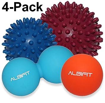 Terapia de masaje pelotas con pinchos (4 unidades), color negro ...