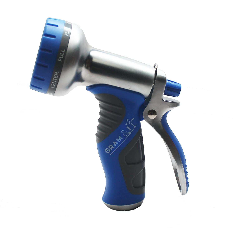 amazon com gram u0026i garden hose nozzle 9 pattern aluminum heavy