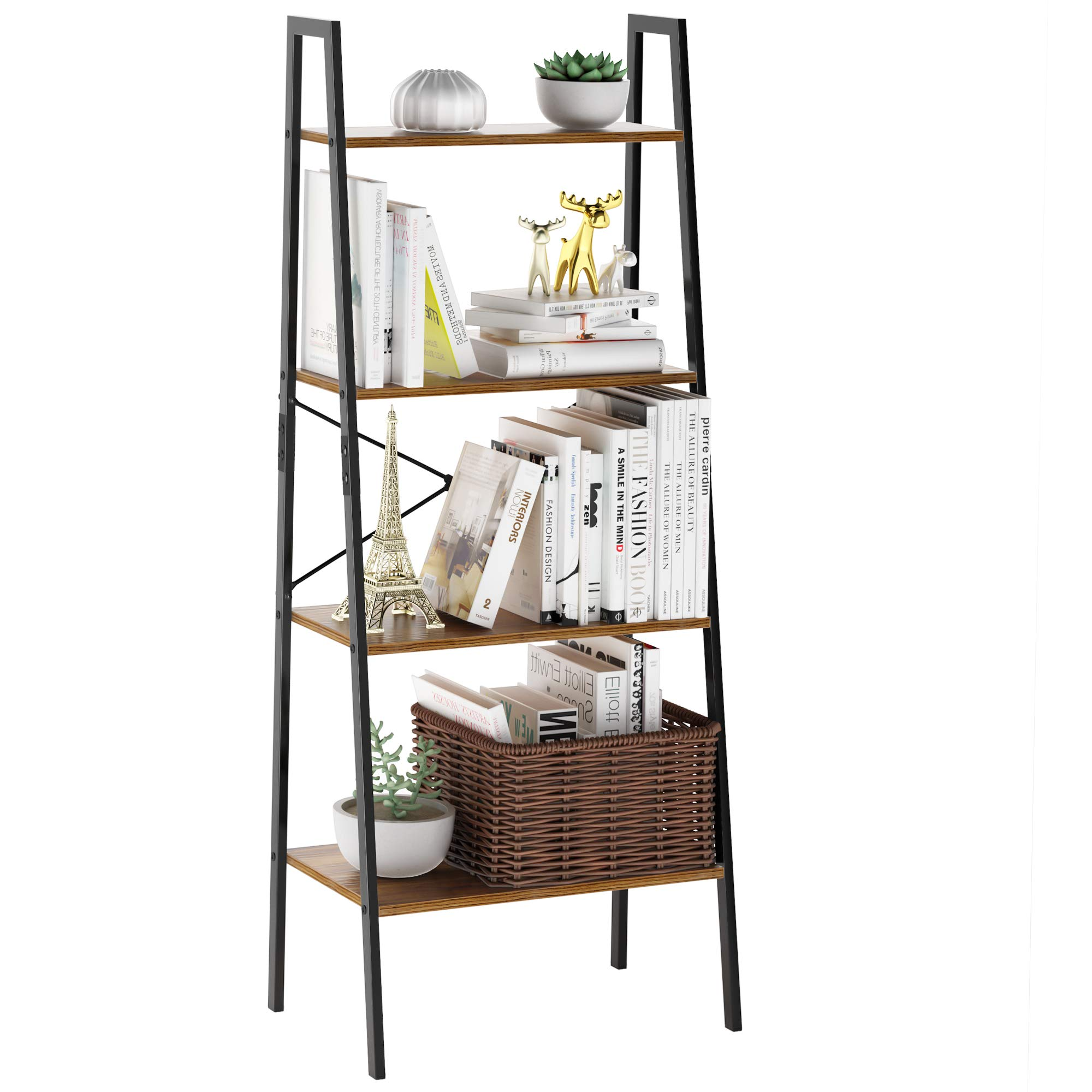 LANGRIA Industrial Ladder Shelf 4 Tier Vintage Bookcase Bookshelf Wood Storage Standing Racks Unit Metal Frame for Bedroom, Living, Office by LANGRIA