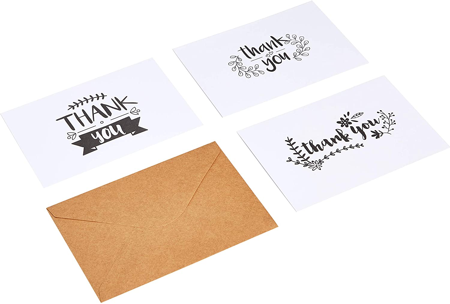 AmazonBasics Thank You Cards, Black and White, 48 Cards and Envelopes